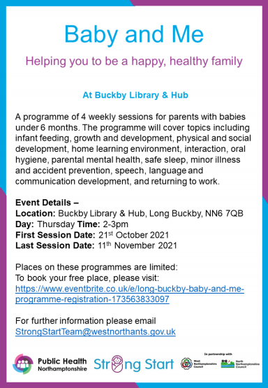 Baby & Me Sessions are coming to Buckby Library & Hub
